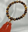 数珠 男性用【送料無料】 虎目石22珠共仕立正絹頭房(茶色) 念珠