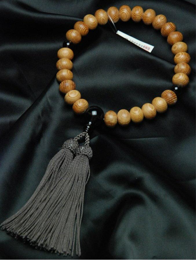 数珠 屋久杉 平玉27珠 茶水晶 仕立正絹頭房(ねず茶)上級品各宗派男性用数珠(念珠)