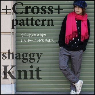"""Cross embroidery shaggy knits ' women's fashion tops knit shaggy cross embroidery white black autumn/winter new Korea purchase sale SALE 130206 _ free"