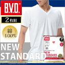 Vネック半袖Tシャツ 2枚組 BVD NEW STANDARD/メンズインナー/【綿100%】   インナーシャツ【白】 【コンビニ受取対応商品】