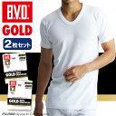 B.V.D.GOLD U首半袖シャツ 2枚セット S,M,L  BVD 【綿100%】 シャツ メンズ インナーシャツ 下着【白】 【コンビニ受取対応商品】