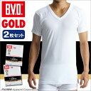 B.V.D.GOLD V首半袖シャツ 2枚セット M,L  BVD 【綿100%】 シャツ メンズ インナーシャツ 下着【白】 【コンビニ受取対応商品】