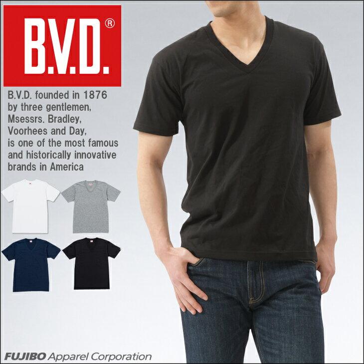 B.V.D. 定番Vネック半袖Tシャツ 無地 吸水速乾 【コンビニ受取対応商品】