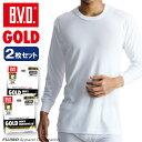B.V.D.GOLD 丸首8分袖Tシャツ 2枚セット S,M,L  BVD  綿100%  シャツ メンズ インナーシャツ 下着 白   コンビニ受取対応商品  g017-2p