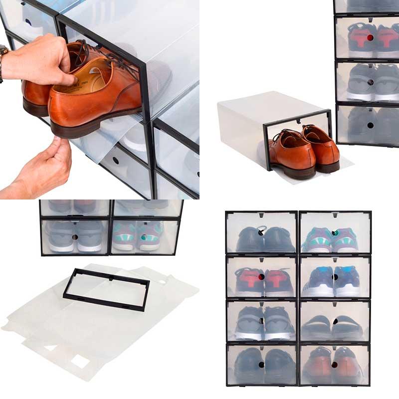 【送料無料】【8箱入り】男性用シューズボックス枠付き透明クリアー