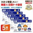 あす楽対応/お得な5枚セット 韓国データ通信SIMカード(4GB/5日間) China Unicom 4G高速データ☆10月より4GBに増量!※開通期限2020/06/30