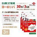 お得な3枚セット!ヨーロッパ(EU圏37地域)周遊データ&音声通話SIMカード(3GB/1000分/30日) China Unicom 高速通信※開通期限:2020/12..