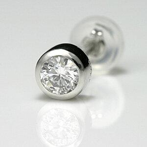 プラチナメンズピアス シンプル ダイヤモンド