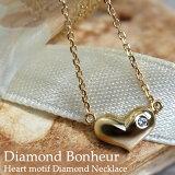 【】K10 K18 ホワイトゴールド ピンクゴールド イエローゴールド ぷっくり ハート ダイヤモンド ネックレス 【necklace】【ハートネックレス】【楽ギフ包装】【名入れ対象外商品】