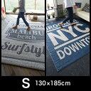 【送料無料】【130×185cm/1.5畳】マリブ ブルックリン ニューヨーク NYC 西海岸 防臭 消臭 日本製 ラグマット ラグ カーペット インテリア 北欧 アメリカ デザイナーズ 滑り止め おしゃれ ネイビー デニム グレー 国産 英字 ロゴ