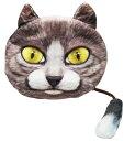 ふわふわにゃんこフェイスポーチしっぽ付 1【 おもしろ雑貨 アニマル雑貨 動物 猫 ねこ ネコ 小物入れ 小銭入れ ミニポーチ 日用雑貨 お出かけ 】