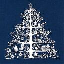 DMC 刺繍キット クリスマス(刺しゅう) クロスステッチクリスマスツリー(ネービー/ホワイト)初心者向け