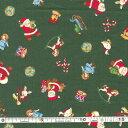 クリスマス生地(布)クリスマスモチーフ サンタ とび柄(グリーン)