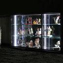 【家具】 コレクションボード 幅110 LEDライト付き ワンピースフィギア コレクションケース 背面ミラー キュリオケース コレクションボックス フィギア ケ...