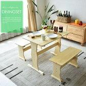 ダイニングテーブルセット 幅90 2人掛け 3点セット 木製 パイン無垢材 カントリーテイスト コンパクト ダイニングベンチ ダイニング3点セット 作業台として ベンチ テーブル 食卓