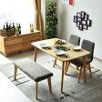 ダイニングテーブルセット 幅120 4点セット 木製 オーク 4人掛け 4人用 カフェスタイル 北欧 おしゃれ 無垢椅子 ダイニングチェアー 食卓セット ダイニングベンチ