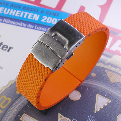 Natural rubber watch strap with Dyployant clasp ORANGE