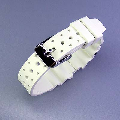 Ladies ' white tube 14 mm wide belt White Watch time meter for divers Italy-made rubber (natural rubber)
