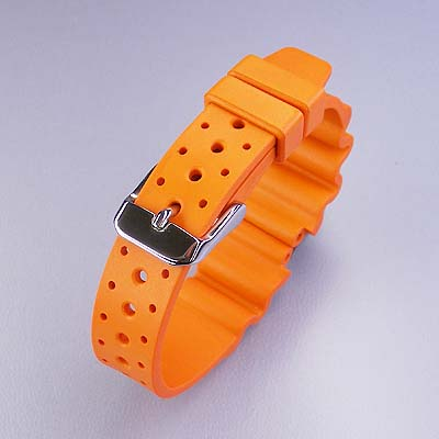 Italy-made rubber (natural rubber) diver belt Orange 14 / 16 mm watch watches
