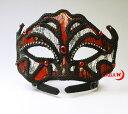 ベネチアンスタイルのマスク/仮面/赤色とブラックトリム/ラインストーン付き(61018)w77