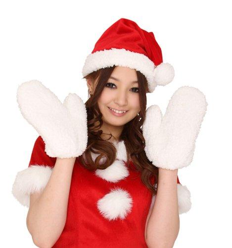 マシュマロサンタセット帽子手袋(コスプレクリスマス)色は赤×白コスチューム可愛いレディースメンズ男性