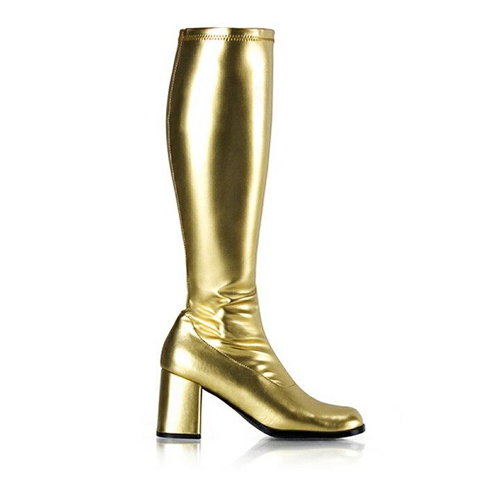 送料無料 Pleaser(プリーザー)ひざ丈のストレッチロングブーツ/ゴールド/ヒール高約8cm(GOGO-300-Gold)
