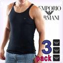 EMPORIO ARMANI エンポリオアルマーニ メンズ タンクトップ 3枚パック ブラック[黒 下