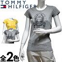 TOMMY HILFIGER DENIM トミーヒルフィガー デニム レディース クルーネック ロゴTシャツ(2色展開)[グレー イエロー][XS/S/M/L/XL][半袖 ショートスリーブ][ヨーロッパ仕様][1656216352]大きいサイズ ブランド[5,400円以上で送料無料]