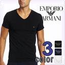EMPORIO ARMANI エンポリオアルマーニ メンズ tシャツ Vネック ストレッチ コットン 半袖Tシャツ 3色展開[ブラック/ホワイト/ネイビー][黒 白 紺][下着 肌着 アンダーウエア ブイネック ティーシャツ ルームウェア]ブランド 大きいサイズ[5,400円以上で送料無料]