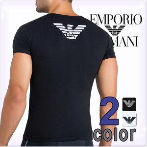 アルマーニ Tシャツ イーグル プリント ストレッチ コットン ブラック