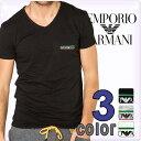 EMPORIO ARMANI エンポリオアルマーニ メンズ tシャツ vネック ストレッチ コットン 半袖Tシャツ 3色展開[黒 グレー 白][ブイネックTシャツ トップス アルマーニ 下着 アンダーウエア][110810-3P510]ブランド 大きいサイズ[5,400円以上で送料無料]