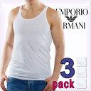 EMPORIO ARMANI エンポリオアルマーニ メンズ タンクトップ 3枚パック ホワイト[白 下着 肌着 アンダーウエア アルマーニ 下着 ルームウェア タンクトップ 無地 ブランド トップス][110822-CC712]大きいサイズ[5,400円以上で送料無料]ブランド