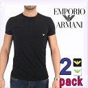 EMPORIO ARMANI エンポリオアルマーニ メンズ tシャツ 2枚パック クルーネック Tシャツ 黒 白[下着 肌着 アンダーウエア Uネック ティーシャツ ルームウェア コットンTシャツ ブランド][111267-5p712]大きいサイズ[5,400円以上で送料無料]ブランド