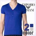 EMPORIO ARMANI エンポリオアルマーニ メンズ tシャツ ヘンリーネック 半袖Tシャツ 2色展開 青 グレー ワンポイント トップス エンポリオアルマーニTシャツ インナー 111087-5P569 ブランド 大きいサイズ【5,400円以上送料無料】