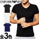 EMPORIO ARMANI エンポリオアルマーニ メンズ tシャツ Vネック ストレッチ コットン 半袖Tシャツ 3色展開[ブラック/ホワイト/ネイビー][黒 白 紺][下着 肌着 アンダーウエア エンポリオ アルマーニTシャツ ルームウェア][5,400円以上で送料無料][110810cc718]