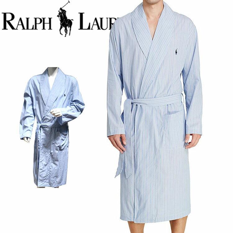 POLO RALPH LAUREN ポロ ラルフローレン コットン バスローブ メンズ ストライプ[青 ブルー 水色 しま ボーダー][S/M/L/XL][ポロ・ラルフローレン ラルフローレン ナイトガウン 部屋着 ナイトウエア リラックスウエア][送料無料][R171]大きいサイズ ブランド