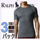 POLO RALPH LAUREN ポロ ラルフローレン メンズ クラシックコットン クルーネック半袖Tシャツ 3枚セット[グレー ブラック 黒][S/M/L/XL][ポロ・ラルフローレン ラルフローレン tシャツ下着 肌着 インナー ][5,400円以上で送料無料][RL65A1]大きいサイズブランド