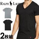 POLO RALPH LAUREN ポロ ラルフローレン メンズ ストレッチ コットン Vネック 半袖Tシャツ 2枚セット ラルフローレンTシャツ ラルフtシャツ [LEVN]