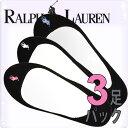 POLO RALPH LAUREN ポロ ラルフローレン レディース フットカバー インナーソックス 黒/ブラック アソート 3足セット[23.0cm-26.5...