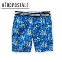 ショッピングハーフパンツ 【在庫売りつくし】エアロポステール[AEROPOSTALE ]FOREVER BLUE [ベルトつき]  ハーフパンツ 6612-0848 Palm Tree Belted Flat-Front Shorts 【あす楽対応】