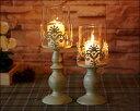 キャンドルスタンド キャンドルホルダー ガラス アイアン アンティーク風 シャビーおしゃれ かわいいキャンドルライト キャンドルスタンド(Lサイズ)