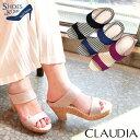 (セール価格・返品不可)サンダル コルクヒール ミュール【Claudia(クラウディア)】履き脱