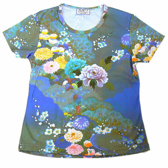 Beauties of nature, azure hyakka ryoran Japan's largest, pattern ladies print t-shirts series