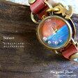 【送料無料】【オリジナル★アンティーク風腕時計】水平線に浮かぶ真珠:腕時計[Sunset]★日本製・Jouet.コラボアイテム[レディース&メンズ][S-M-HP2]