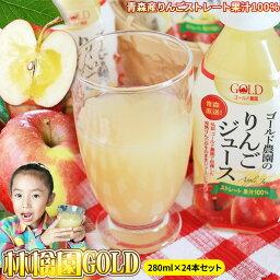 青森 <strong>りんごジュース</strong> 送料無料 100% ストレートジュース【林檎園GOLD 280ml×24本】ペットボトル 青森産 リンゴ ジュース 葉とらずりんご 使用 リンゴジュース りんご [※SP]