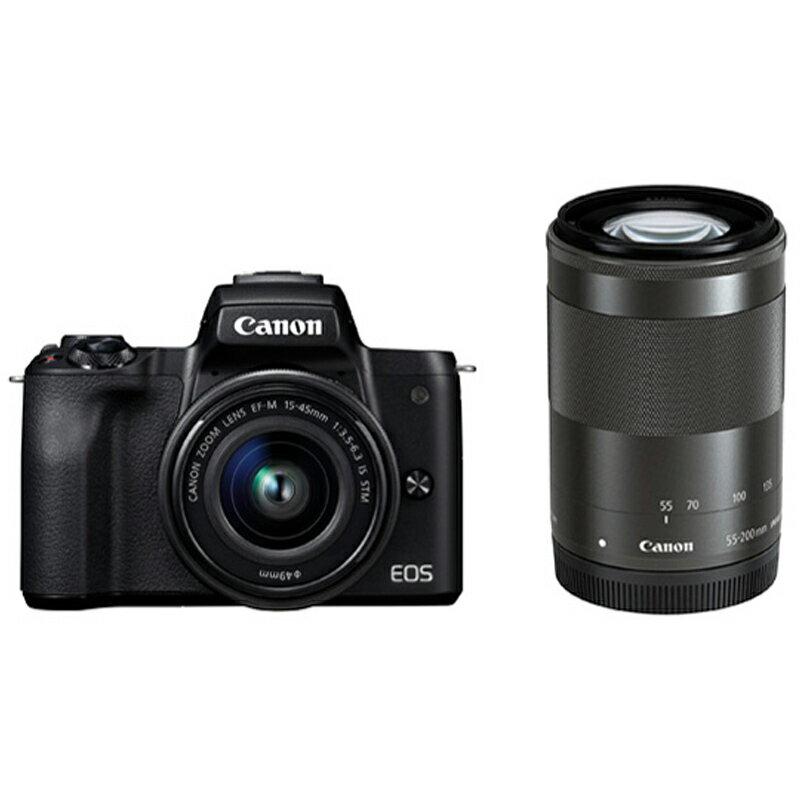 Canon キヤノン ミラーレス一眼カメラ EOS Kiss M ダブルズームキット ブラック