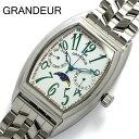 【グランドール】【GRANDEUR】腕時計 メンズ ムーンフェイズ ステンレスベルト ホワイト ウォッチ うでどけい MEN'S GSX018W1