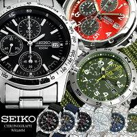 SEIKOセイコーメンズクロノグラフ腕時計10気圧防水クロノ時計うでどけいMEN'S
