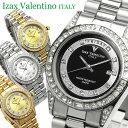 【Izac Valentino】【アイザックバレンチノ】 腕時計 メンズ ラインストーン 10気圧防...