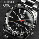 【SEIKO5】【セイコー5】逆輸入 メンズ 自動巻き 腕時計 フルブラック SNKE03K Men 039 s ウォッチ うでどけい オートマティック 海外モデル 正規品